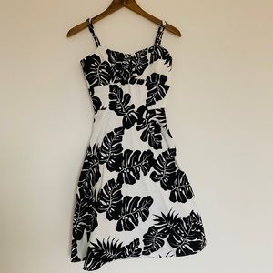Floral Black and White Dress
